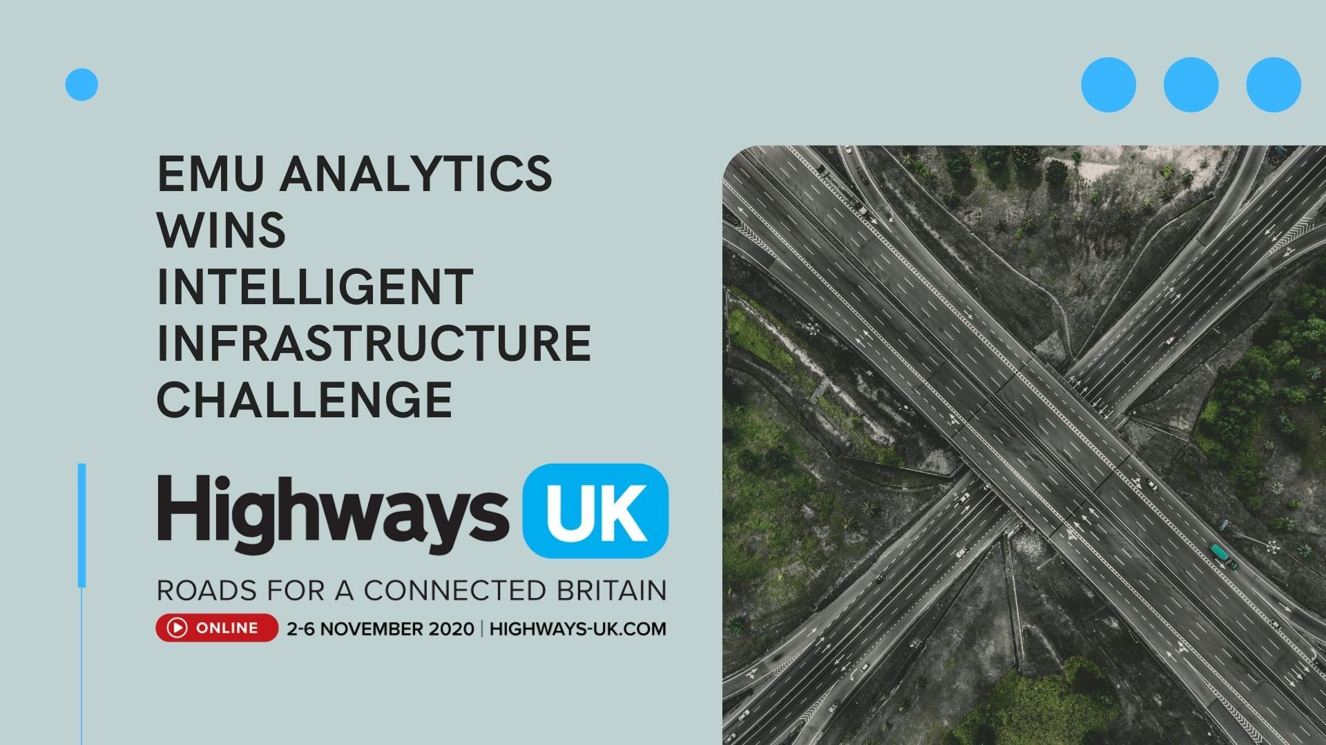 Emu wins Intelligent Infrastructure Competition at Highways UK 2020